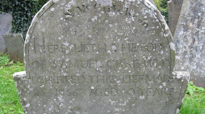 Samuel McCutcheon 1756 Grey Abbey church yard