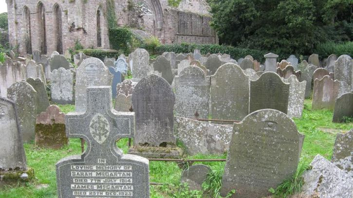 Old Headstones in the church yard of the Grey Abbey Church